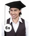 Geslaagd/ afstudeer hoedjes zwart 6x