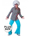 Grote maat disco overhemd met polka dots