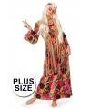 Plus size lange Flower power jurk