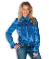 Dames rouche overhemd blauw