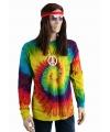 Hippie t-shirt lange mouw rainbow