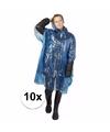 10x blauwe noodponcho doorschijnend