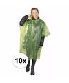 10x groene noodponcho doorschijnend