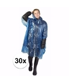 30x blauwe noodponcho doorschijnend