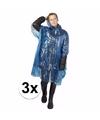 3x blauwe noodponcho doorschijnend