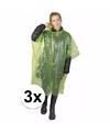 3x groene noodponcho doorschijnend
