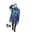 5x blauwe noodponcho doorschijnend