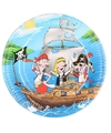 Blauwe feest borden piraten thema 23 cm