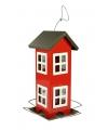 Metalen vogelvoerhuis rood 26cm