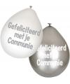 Communie ballonnen wit/zilver 6 stuks