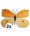 Tuindecoratie vlinders 2 x geel/oranje