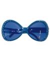 Donkerblauwe glitter zonnebril
