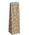 Plastic wijntasje goud glitter met sterren11 x 36 cm
