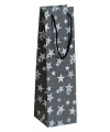 Plastic wijntasje zwart glitrter met sterren11 x 36 cm