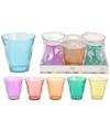 Gekleurde water of frisdrank glazen set 6 stuks