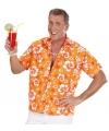 Luau shirt oranje met witte bloemen
