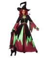 Heksen kostuums rood/groen dames