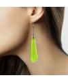 Groene neon kwastjes oorbellen