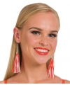 Oranje neon kwastjes oorbellen