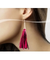 Roze neon kwastjes oorbellen