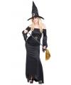 Compleet zwart heksen kostuum voor dames