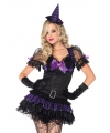 Zwart/paars heksen kostuum dames
