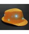Glitter hoed oranje met LED verlichting