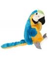 Pluche papegaai handpop blauw/geel