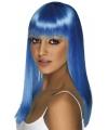 Dames pruik neon blauw