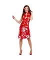 Hawaii kleding jurkje rood bloemen