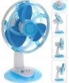 Mini tafel ventilator blauw met wit 30 cm