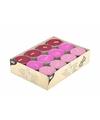 Gekleurde theelichtjes roze 24 stuks