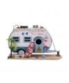 Caravan vogelhuis wit met surfplank