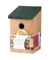 Vogelhuisjes houten netkastje 22 cm